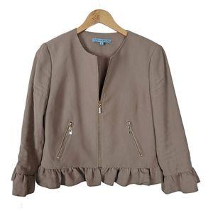 Antonio Melani Tan Ruffle Crop Blazer Size 6